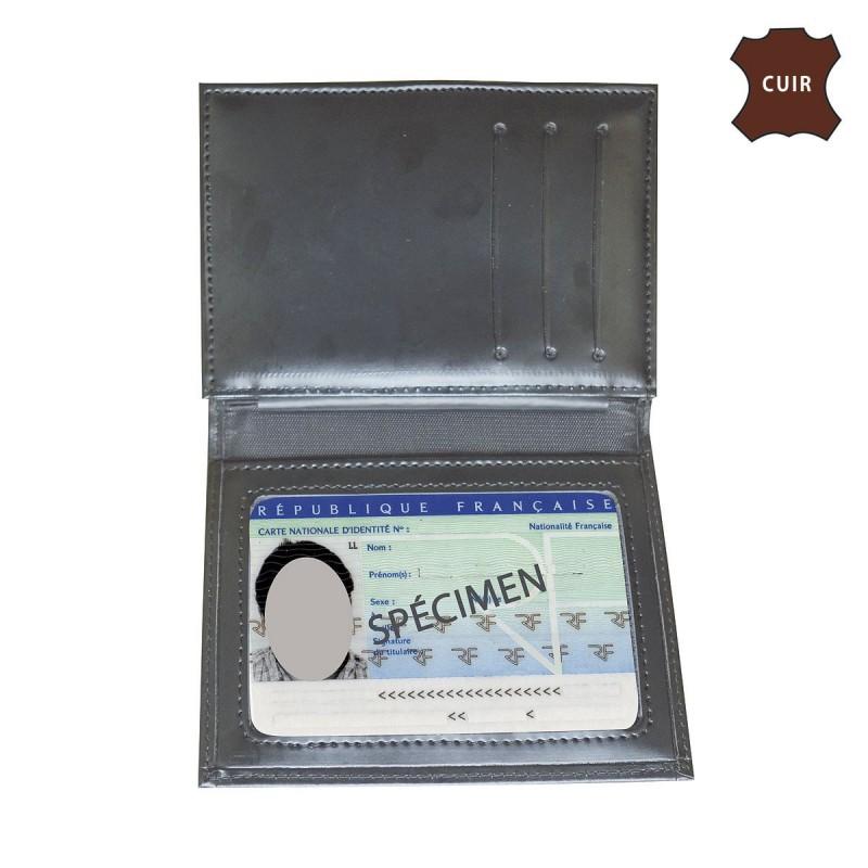 nouveau produit 4644d 4be4c Porte carte gendarmerie 3 volets en cuir emplacement cb et ...