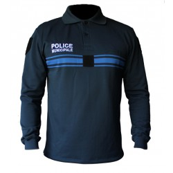 Polo Police Municipale bleu New Life ML