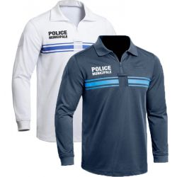 Polo POLICE MUNICIPALE ML polyester col zip