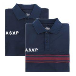 Polo ASVP polyester allégé bande bordeaux