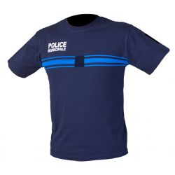 Tee Shirt bleu Police Municipale Coton