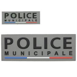 Panneaux Avant et Arrière Police Municipale gomme sur velcros liseré BBR