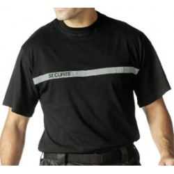 T shirt noir SECURITE bande grise